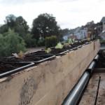 Groenten op het dak met irrigatiebuis.